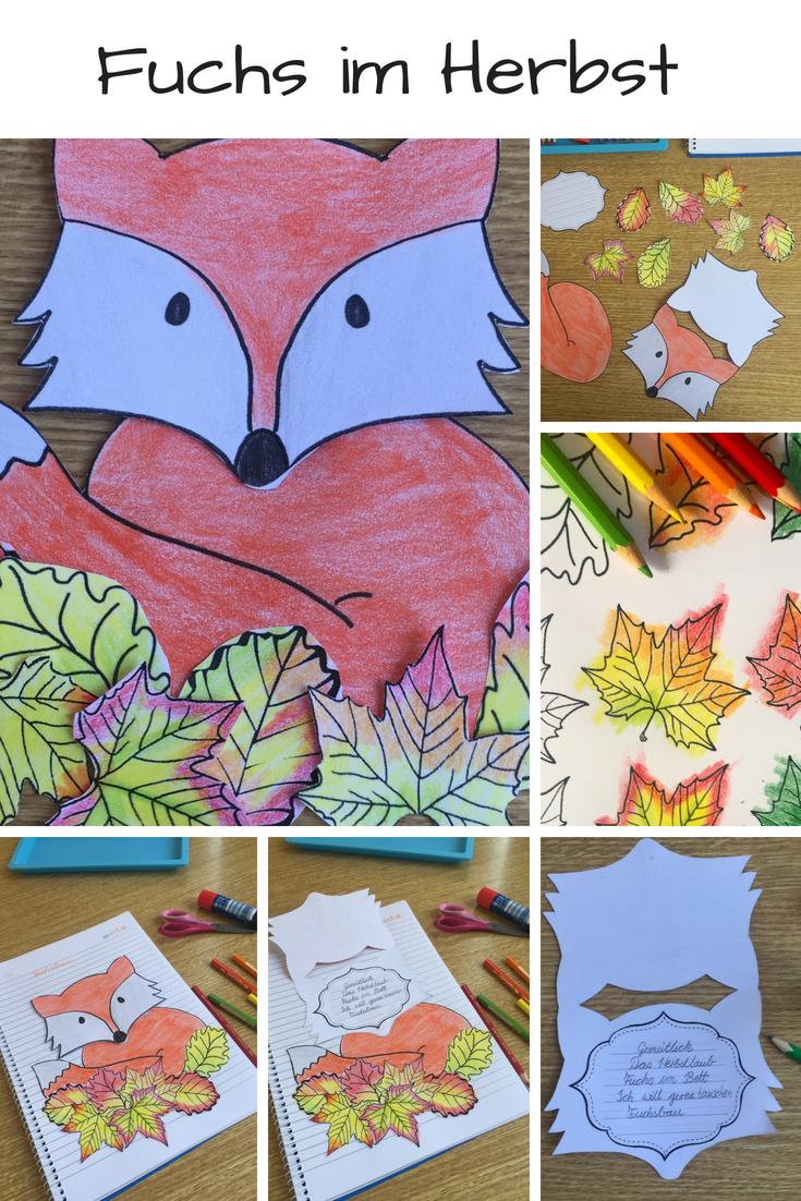 Fox In Autumn Craftivity Fur Elf Gedichte Oder Kleine Lesungen H Grundschule Autumn Craftivity Elf Fox Fur Elfchen Fuchs Basteln Herbst Kunst