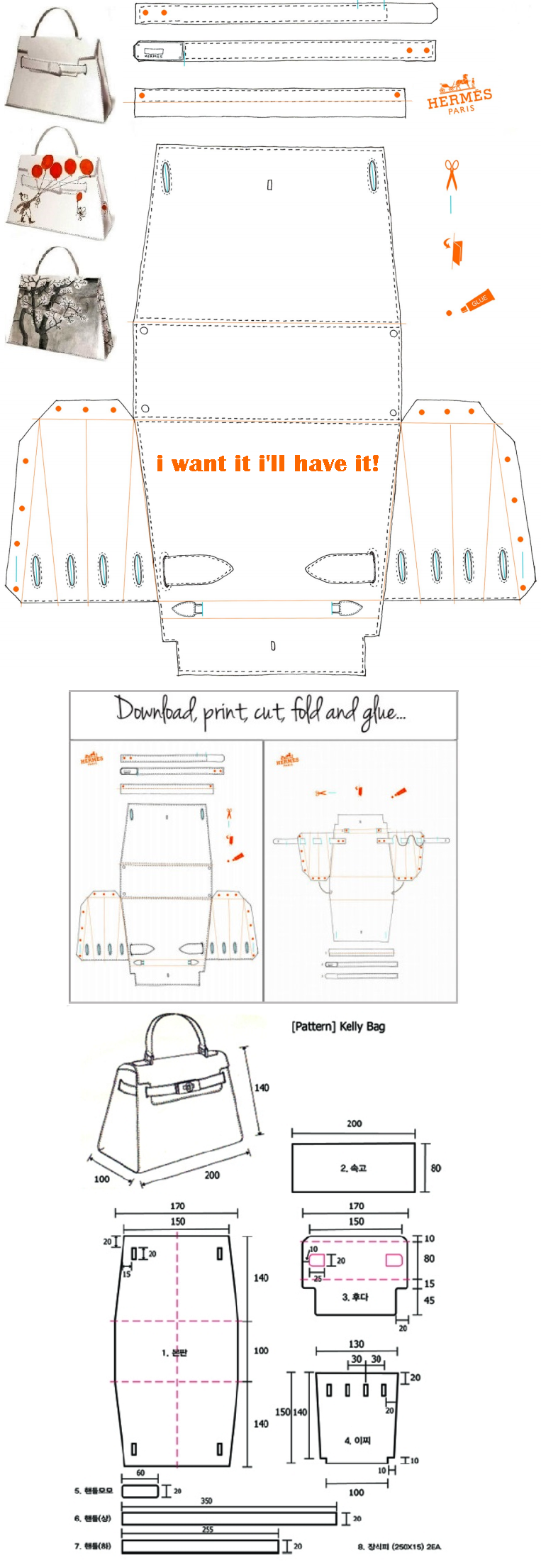 Hermes Kelly Bag Origami Paper Craft I Want It I Ll Have It Http Yesmissy Files Wordpress Com 2013 01 Ke Hermes Kelly Bag Leather Bag Pattern Kelly Bag