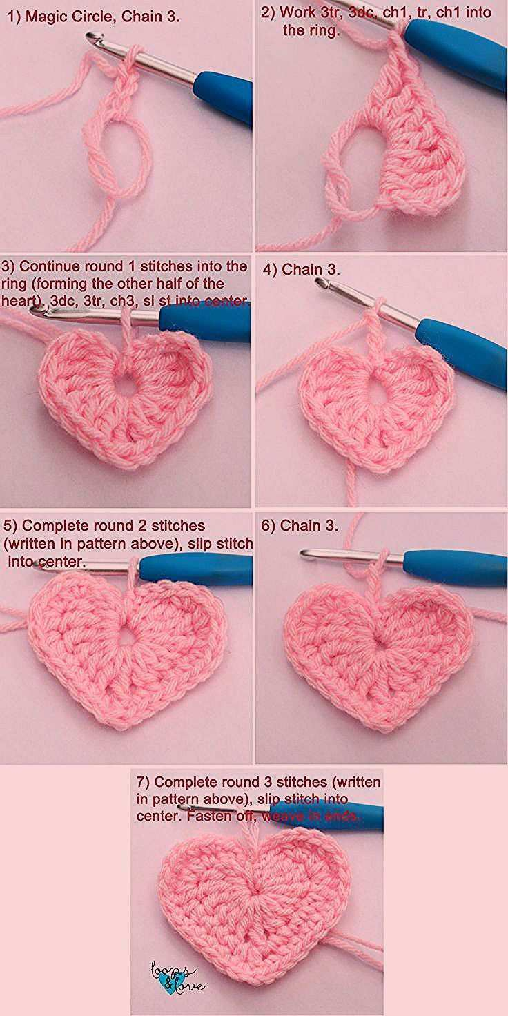 These Crochet Hearts Work Up Quickly And Are Fun To Make They Are Perfect For Y Amigurimi Id In 2020 Crochet Heart Pattern Crochet Flower Patterns Simply Crochet