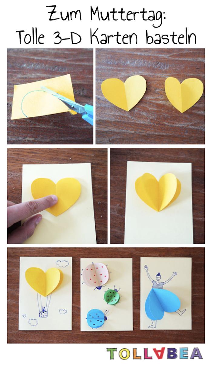 3d Karten Mit Herzen Mit Kindern Basteln Karten Basteln Mit Kindern Muttertag Basteln Karten Basteln