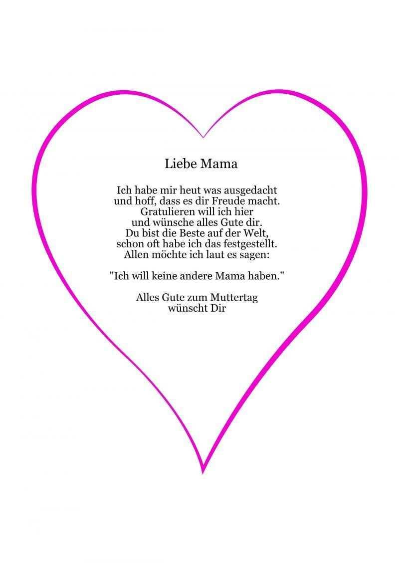 Herzkarte Basteln Vorlage Muttertag Gedicht Wunsche Zum Muttertag Muttertag Geschenke Basteln