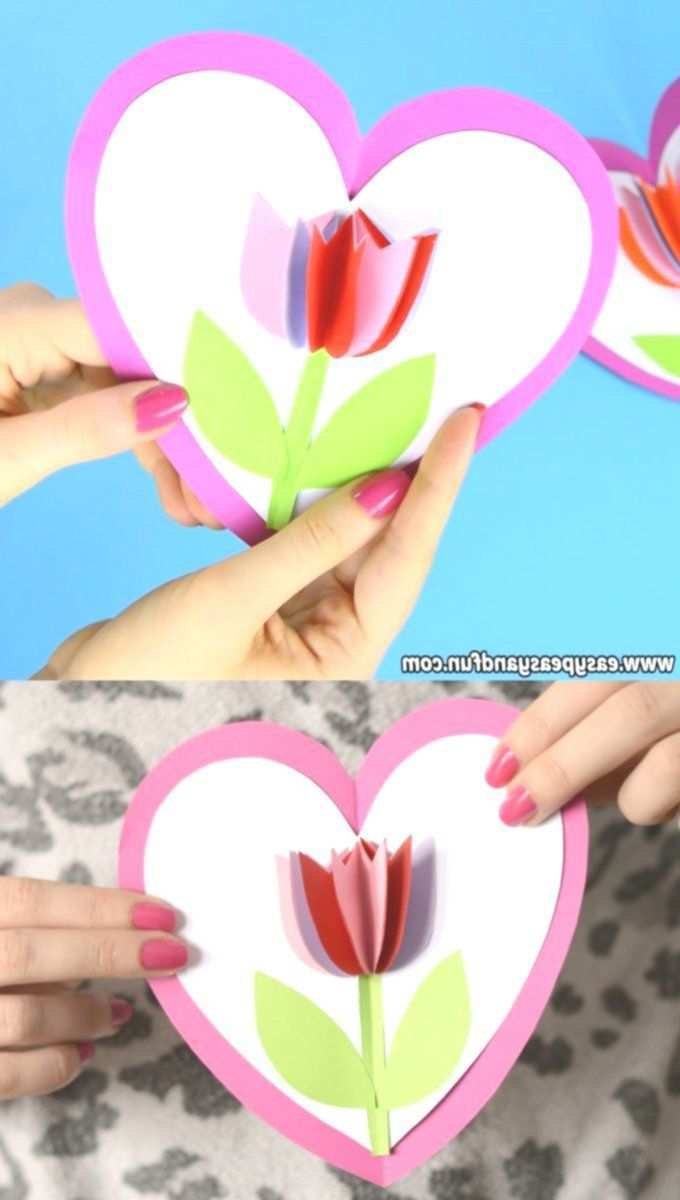 Tulpe In Einer Herzkarte Basteln Zum Muttertag Fur Kinder Basteln Einer Fur Herzkarte Mothers Day Crafts For Kids Mothers Day Crafts Diy Gifts For Kids