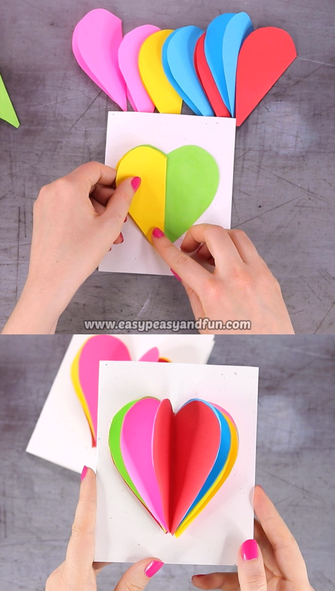 This Bright And Colorful Valentine S Day Card Will Brighten Up Someone S Day Without A Doubt Print Our 3d In 2020 Valentinstag Basteln Herz Karte Valentinstag Karten