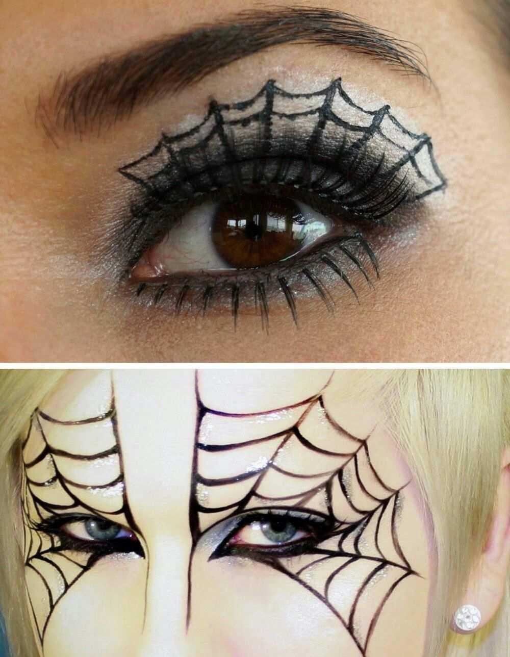 Spinnennetzschminke Schminken Halloween Hexe Schminken Kind Hexe Schminken Einfach