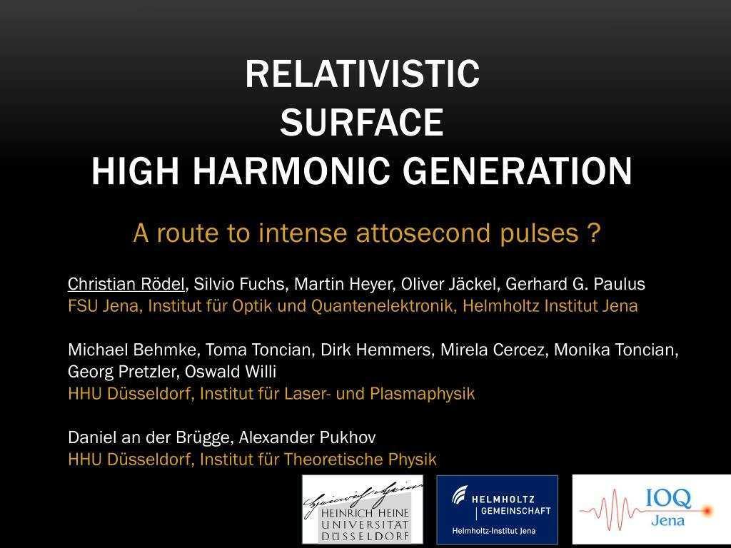 Ppt Relativistic Surface High Harmonic Generation Powerpoint Presentation Id 288453