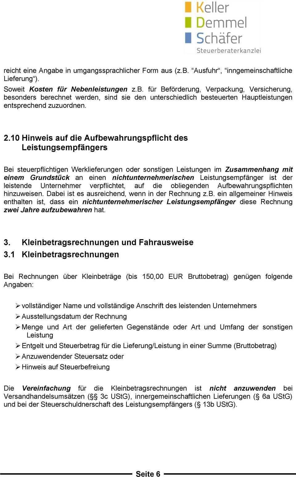 Mandanteninformation Umsatzsteuer Pflichtangaben Rechnungen Pdf Free Download
