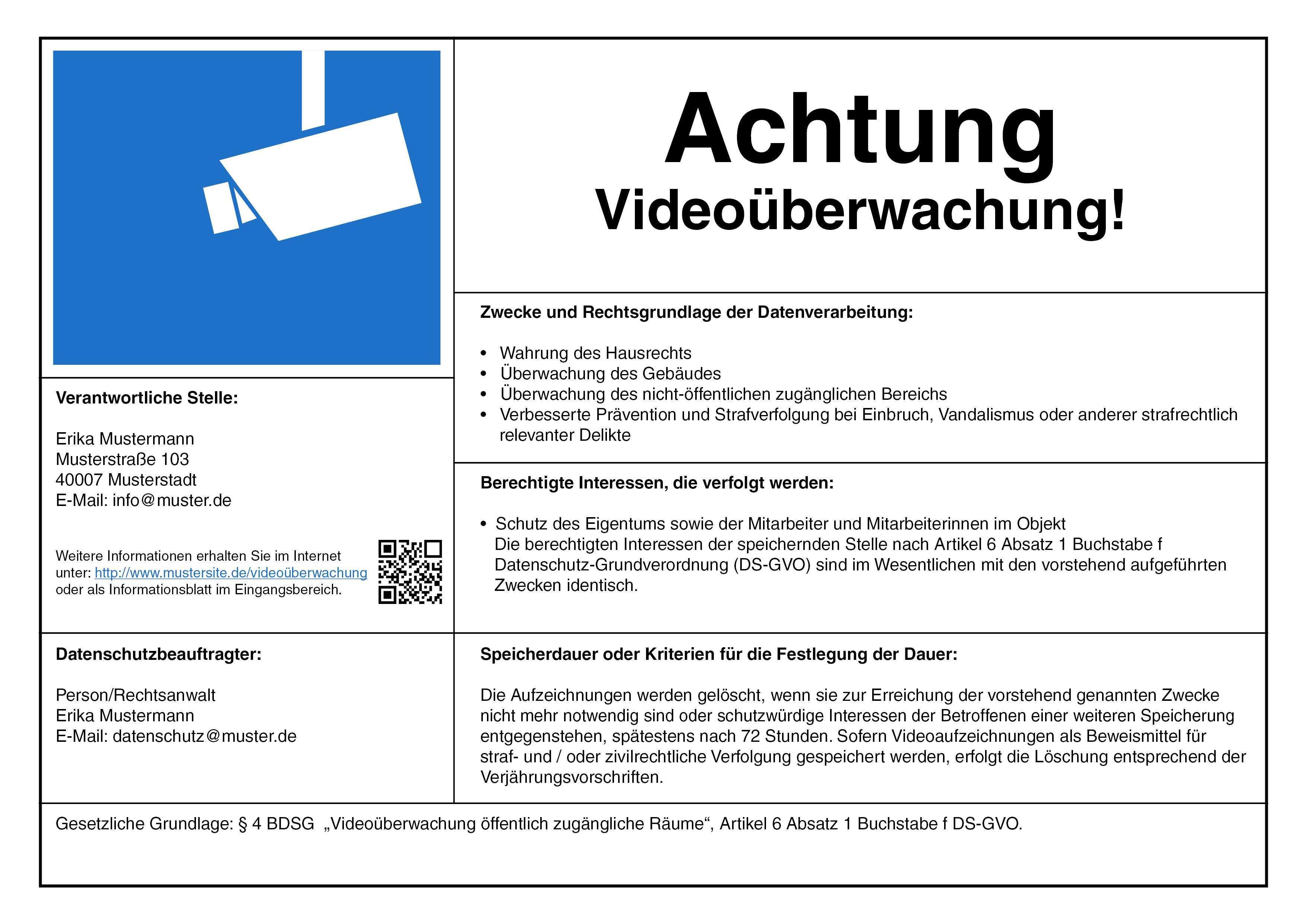 Videouberwachung Hinweisschild Nach Dsgvo Muster Sonstiges Zubehor Zubehor Produkte Turm