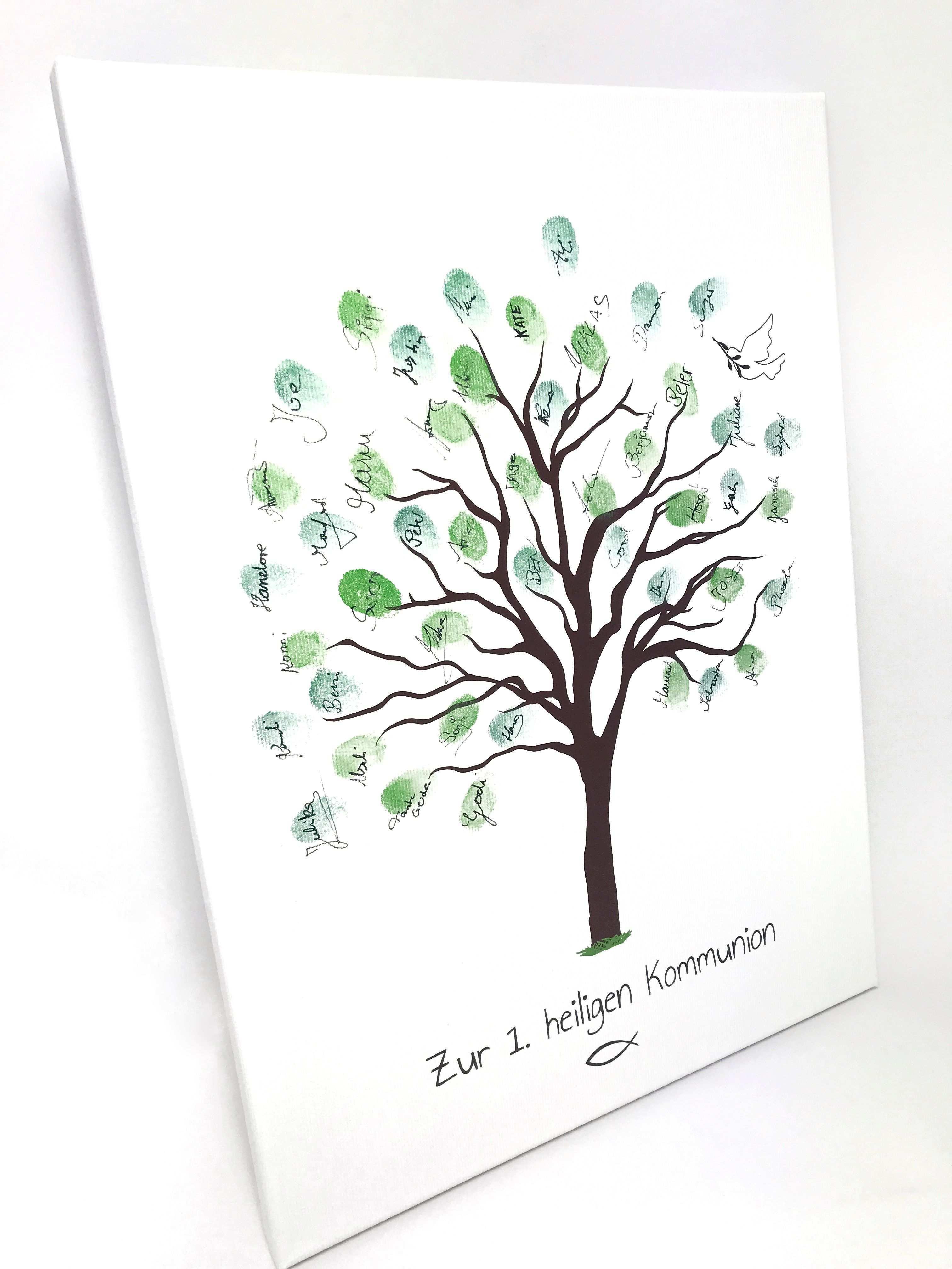 Leinwand Als Gastebuch Fur Die Kommunion Die Gaste Hauchen Durch Ihren Fingerabdruck Dem Baum Leben In Form V Kommunion Geschenke Zur Kommunion Erstkommunion