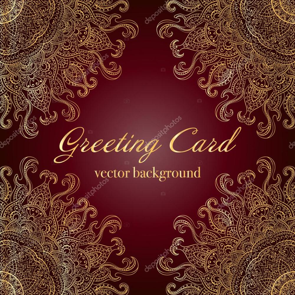 Elegante Indische Ornamente Auf Einem Dunklen Hintergrund Elegantes Indische Einladungskarten Hochzeit Di 2020