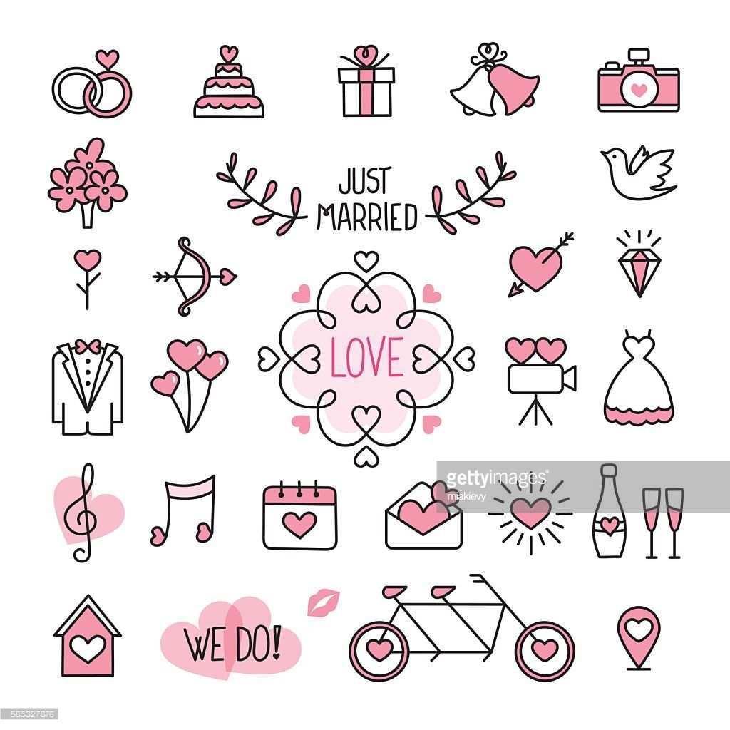 Easily Editable Flat Vector Wedding Icons Hochzeitssymbole Hochzeit Zeichnung Symbol Hochzeit