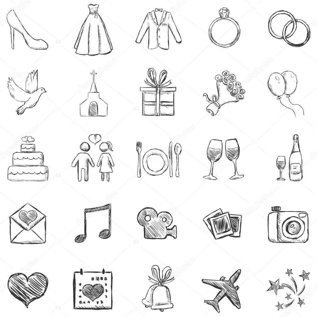 Vektor Set Skizze Hochzeiten Icons Hochzeitssymbole Symbol Hochzeit Einladungen Hochzeit