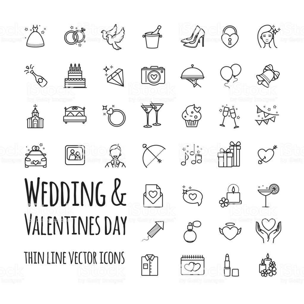 Wedding And Valentines Day Vector Icons Set For Your Design Wedding Icon Icon Set Vector Wedding Illustration