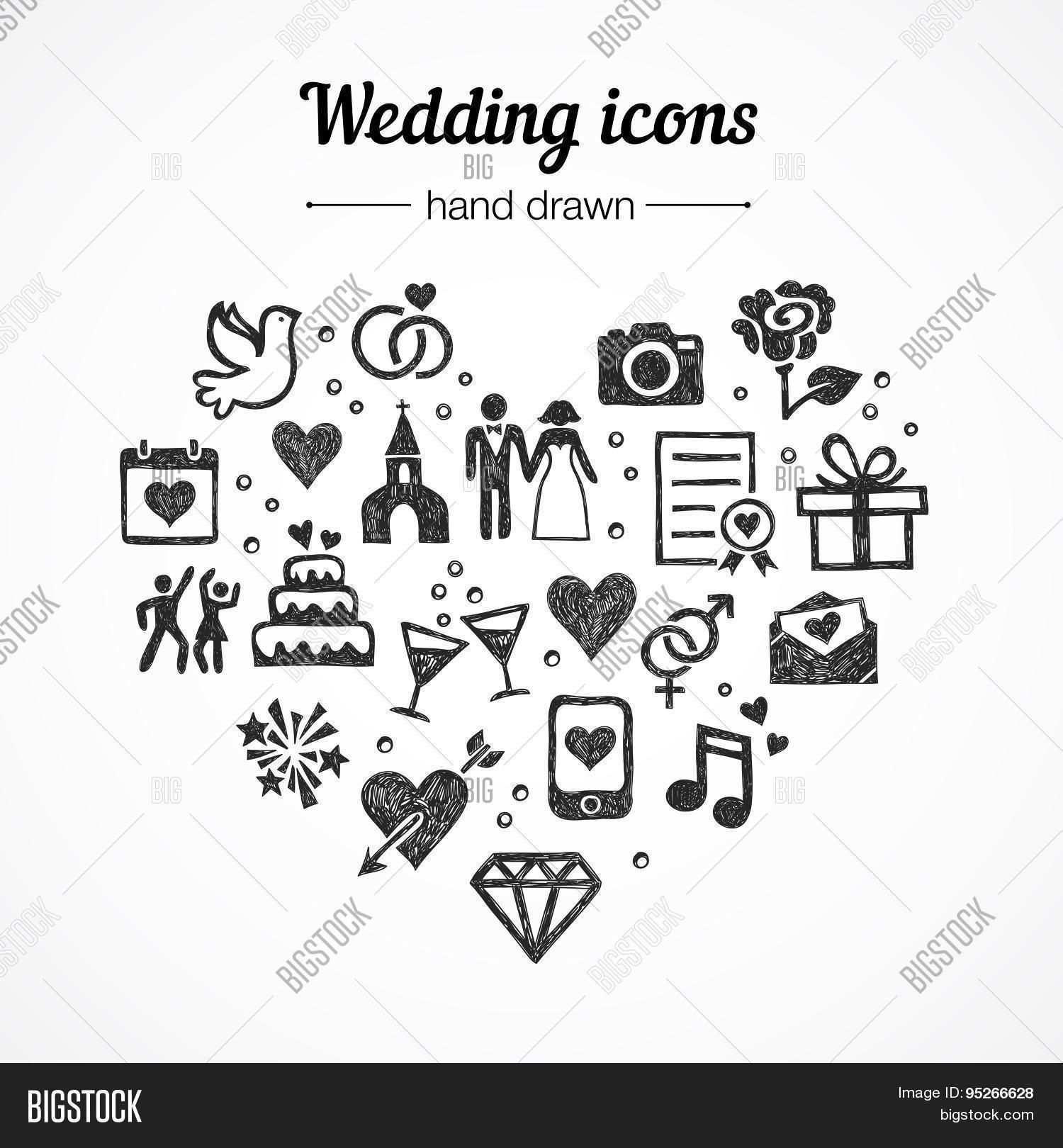 Stock Vektorgrafik Von Redchocolate Hochzeit Zeichnung Symbol Hochzeit Hochzeitssymbole