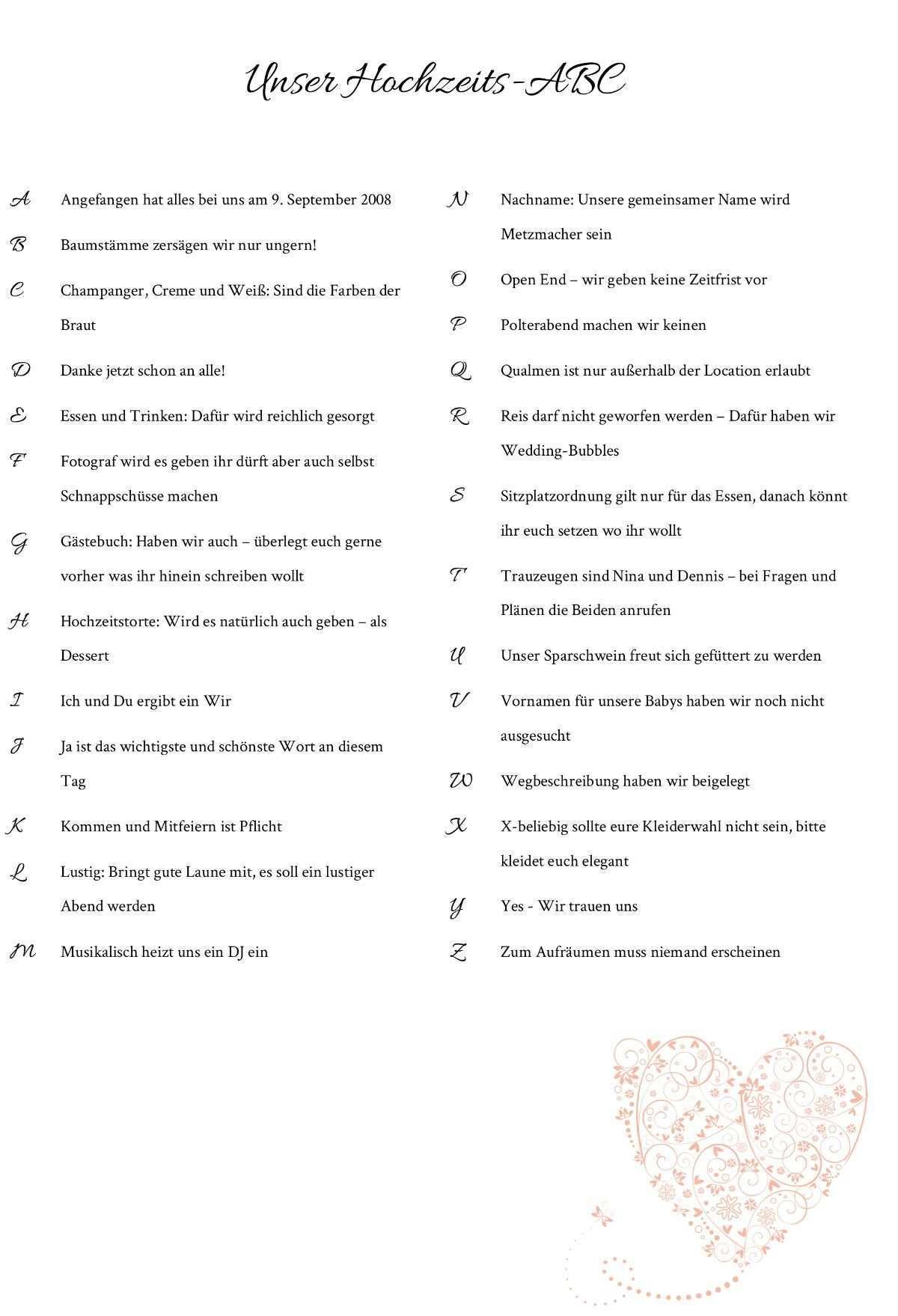 Hochzeits Abc Fur Die Hochzeitsgaste Vorlagen Infos Hochzeits Abc Kirchenheft Hochzeit Vorlage Hochzeitsgaste