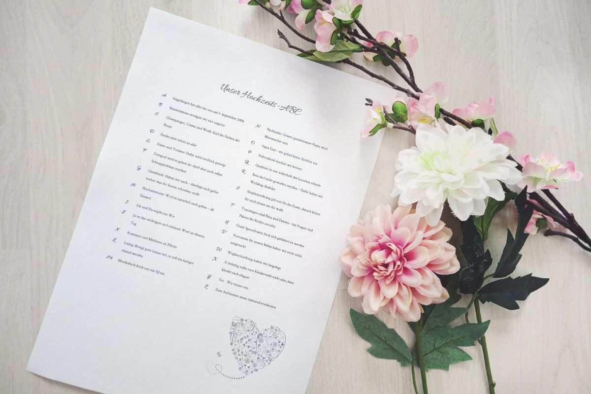 Hochzeits Abc Fur Die Hochzeitsgaste Vorlagen Infos Hochzeits Abc Diy Hochzeit Planen Papeterie Hochzeit