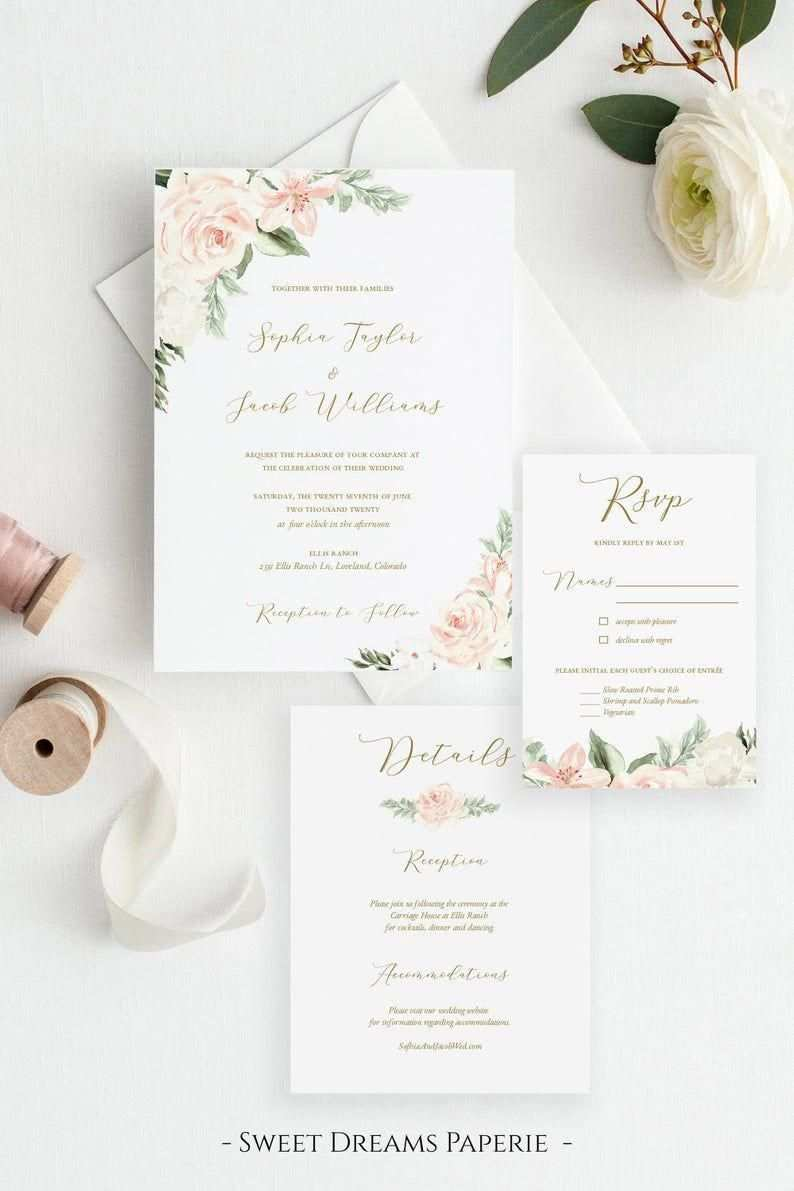 Blush Gold Printable Wedding Invitation Template Floral Wed Blumenhochzeitseinladungen Hochzeitseinladungen Zum Ausdrucken Vorlagen Fur Hochzeitseinladungen
