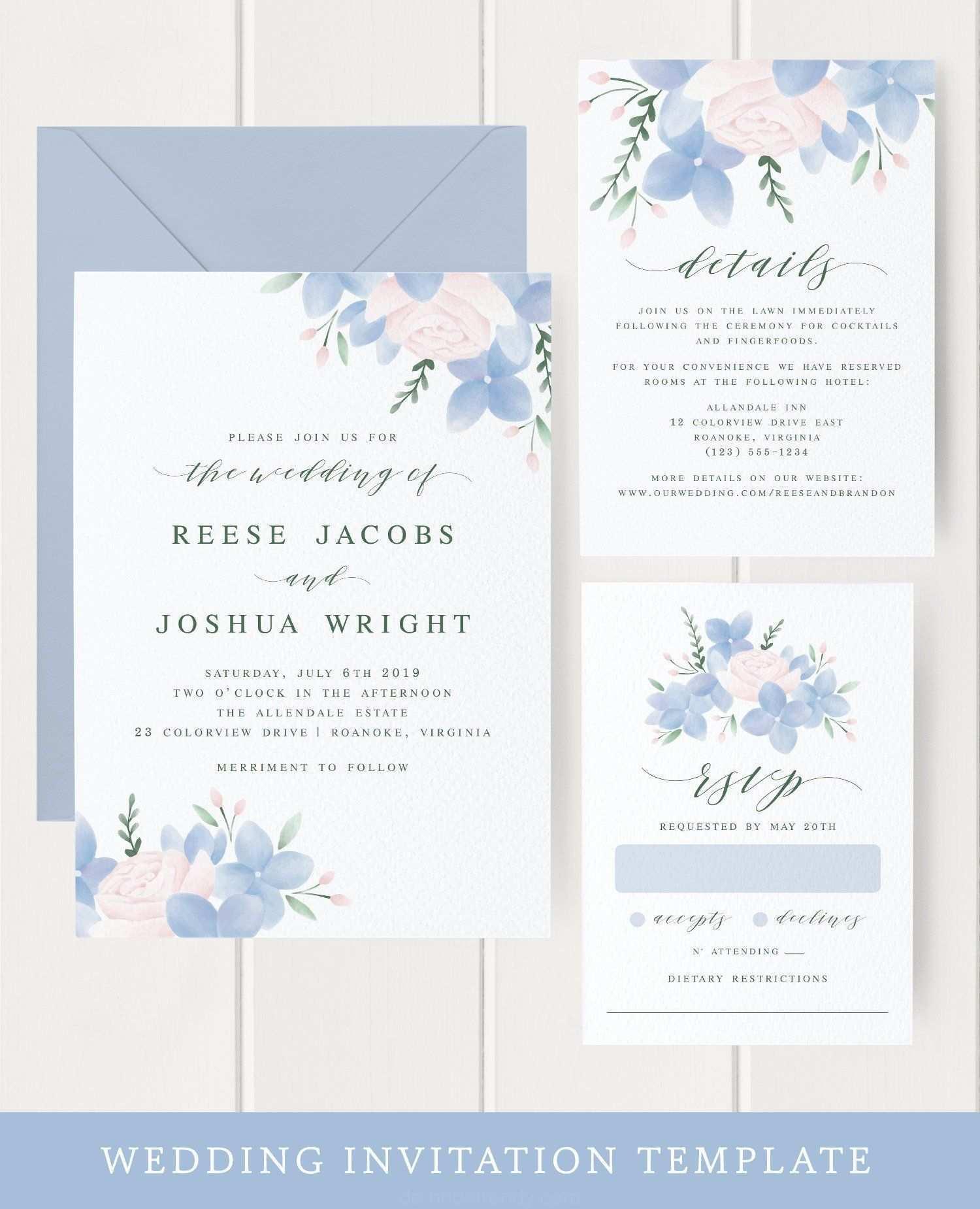 Blaue Blumen Hochzeits Einladung Vorlage Download Elegante Hochzeitseinlad Vorlagen Fur Hochzeitseinladungen Hochzeitseinladung Elegante Hochzeitseinladungen