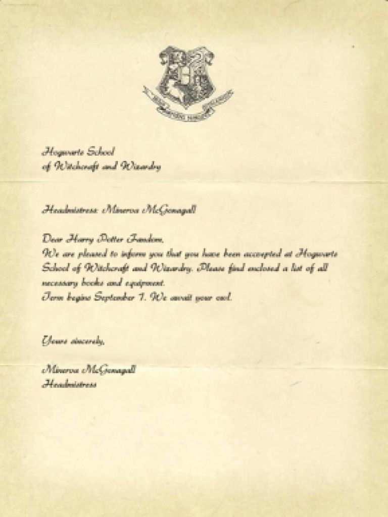 Harry Potter Vorlagen Lebenslauf Hogwarts Brief Lebenslauf