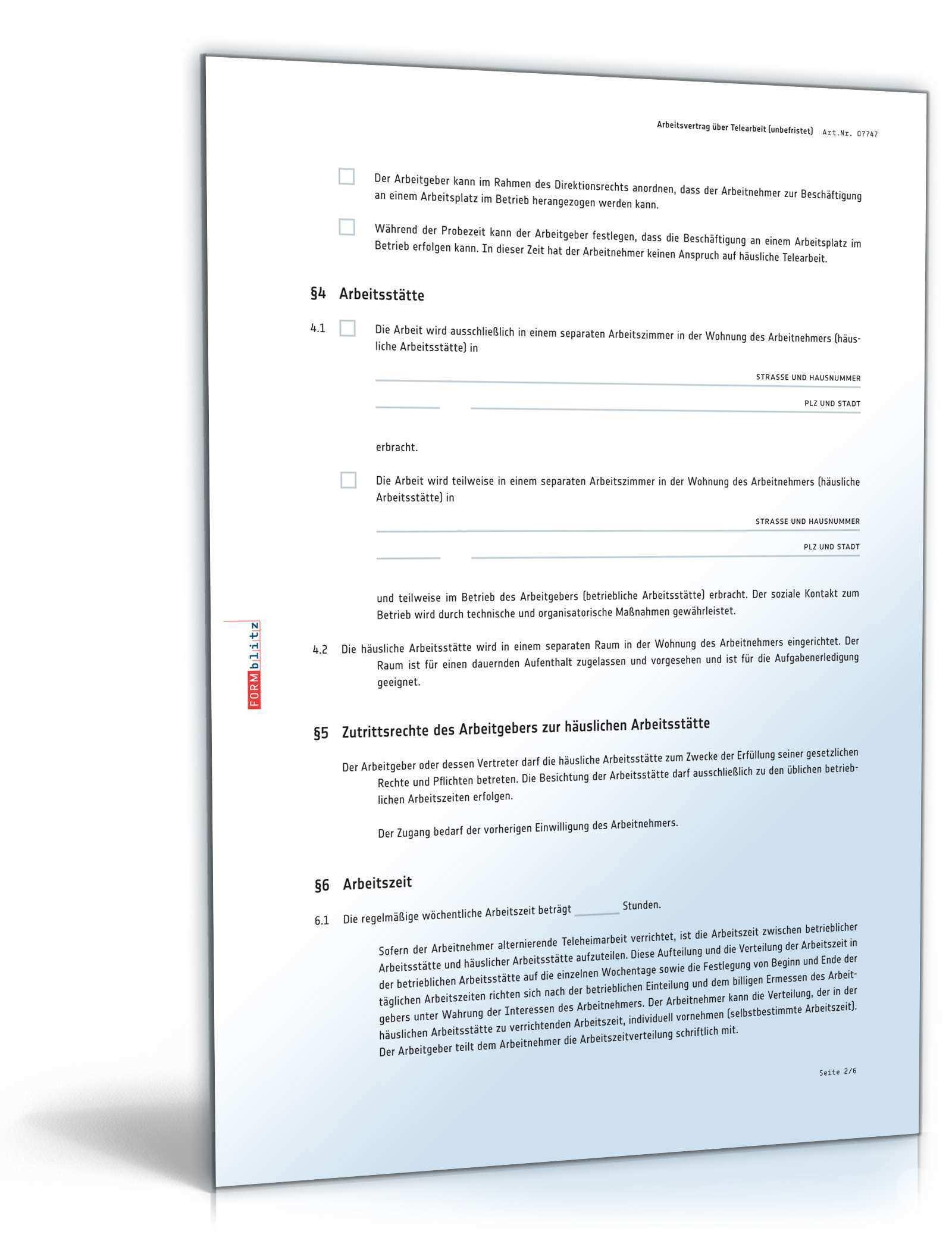 Arbeitsvertrag Homeoffice Als Muster Online Kaufen Sofort Download