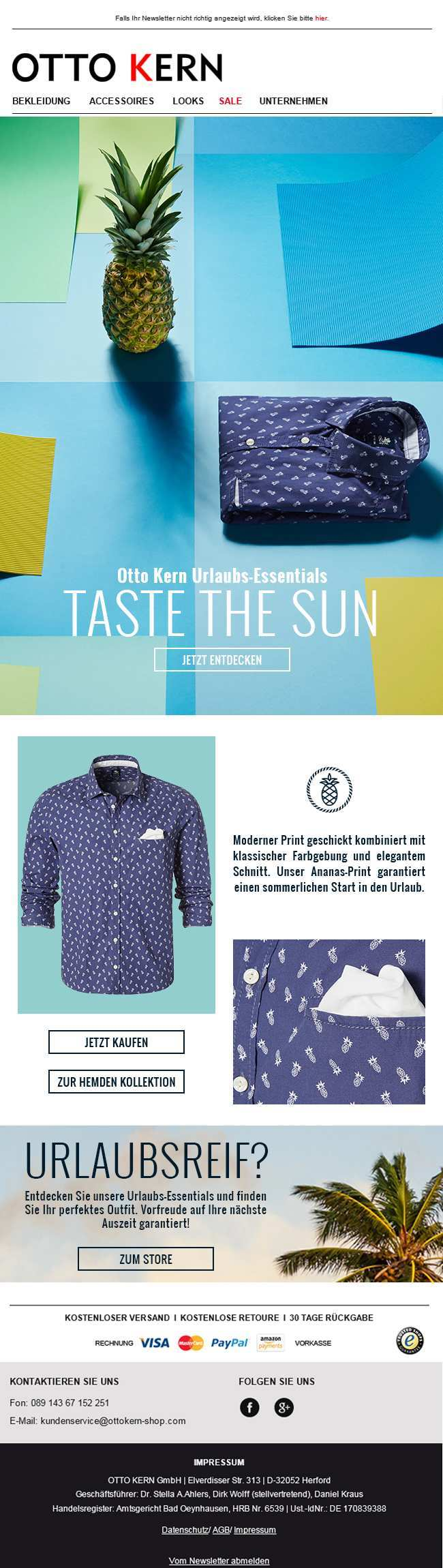 Taste The Sun Fashion For Men Otto Kern Presents The New Casual Shirts Collection For Spring Summer 2016 Newsl Email Design Newsletter Design Website Design