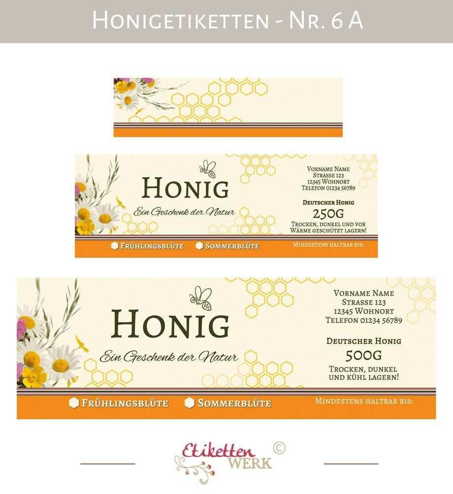 Honigetiketten Design Fur Honig Honigglasetiketten Etiketten Imker Honigglaser Honig Labels Honig Etikette Etiketten Honigglaser