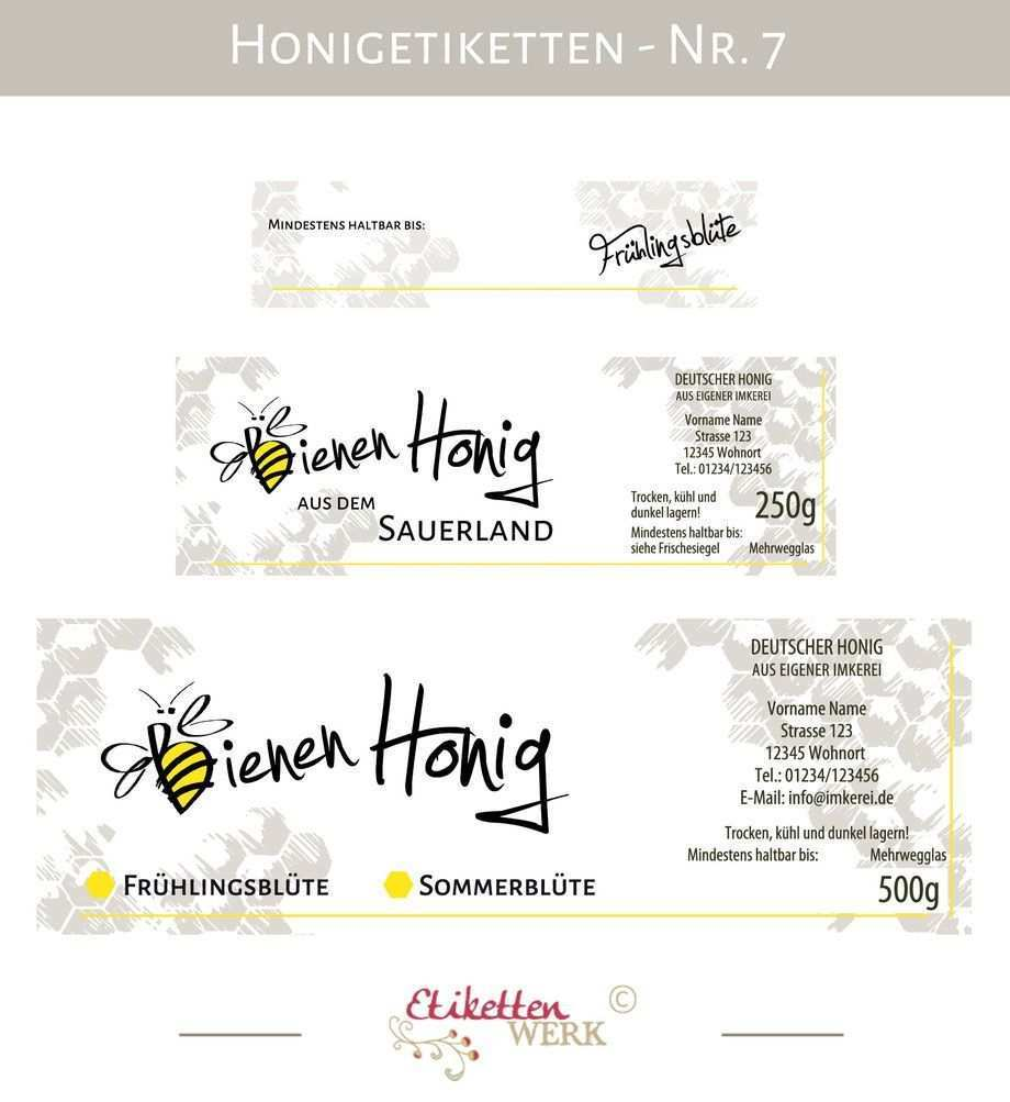 Honigetiketten Design Fur Honig Honigglasetiketten Etiketten Imker Honigglaser Honig Labels Honey Label Design Honey Design Honey Label