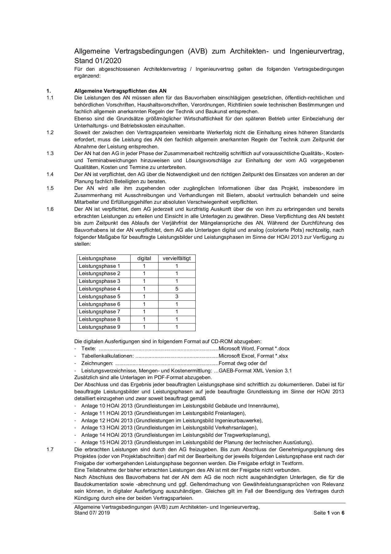 1 Muster Architektenvertrag Stand 20 01 30 Anlage 1 Avb Pages 1 6 Flip Pdf Download Fliphtml5