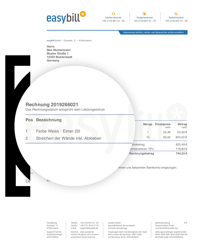 Rechnungsvorlage Musterrechnung Kostenlos Fur Word Und Excel