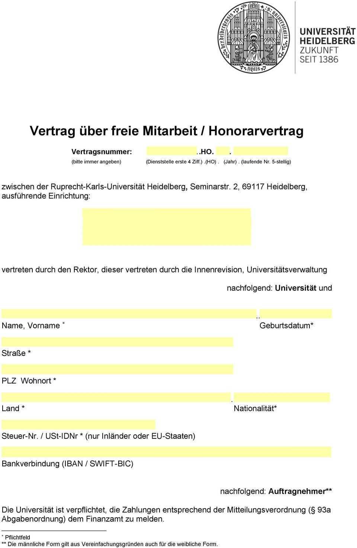 Vertrag Uber Freie Mitarbeit Honorarvertrag Pdf Free Download