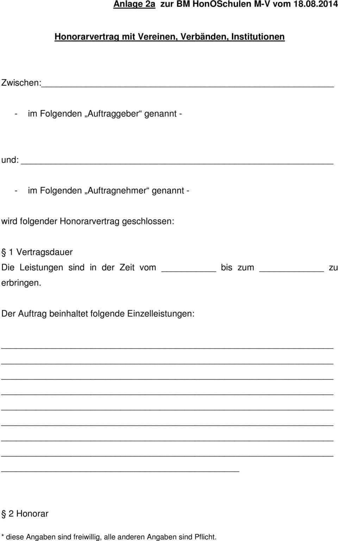Anlage 2 A Honorarvertragsmuster Fur Vertrage Mit Vereinen Verbanden Institutionen Pdf Free Download