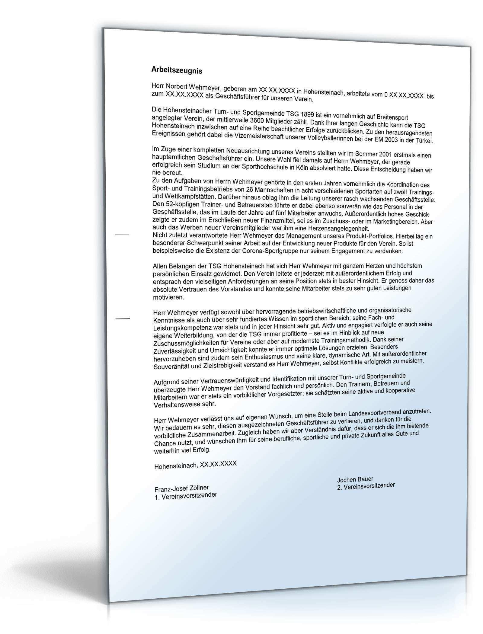 Arbeitszeugnis Geschaftsfuhrer Verein Muster Zum Download