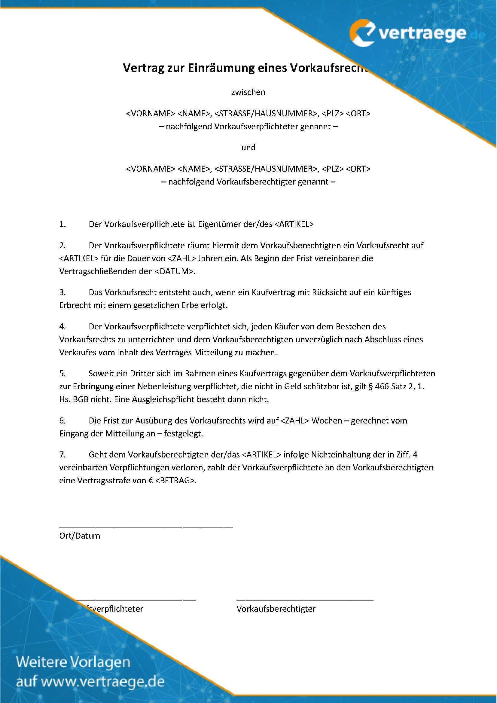 Muster Vertrag Vorkaufsrecht Vertraege De