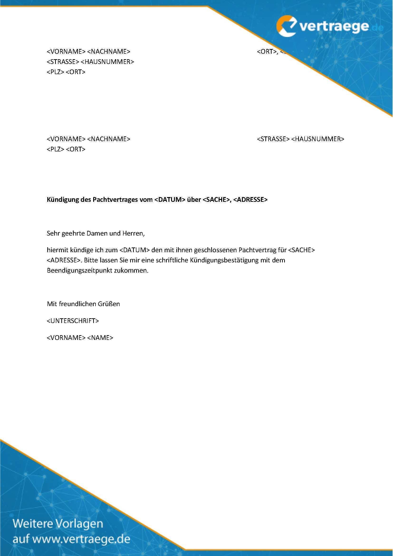 Muster Kundigung Pachtvertrag Vertraege De