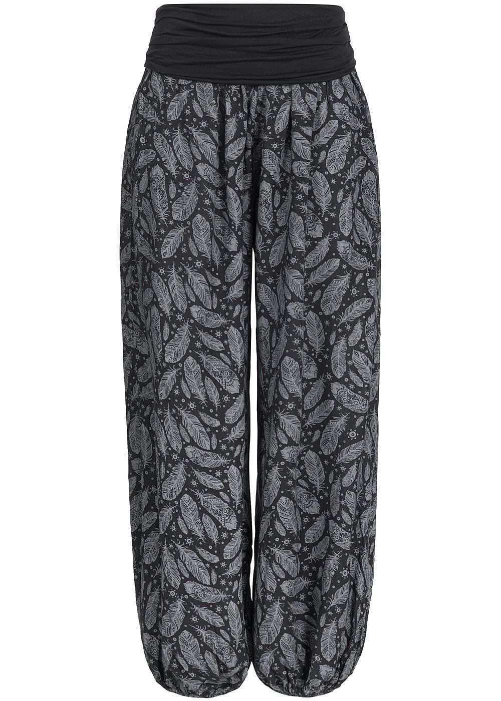Styleboom Fashion Damen Sommer Hose Harem Style Federn Muster Breiter Bund Schwarz Grau 77onlineshop Pantalones