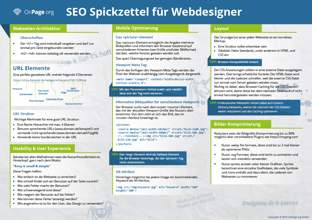 Seo Spickzettel Fur Webdesigner Von Onpage Org Spickzettel Seo Tipps Tipps