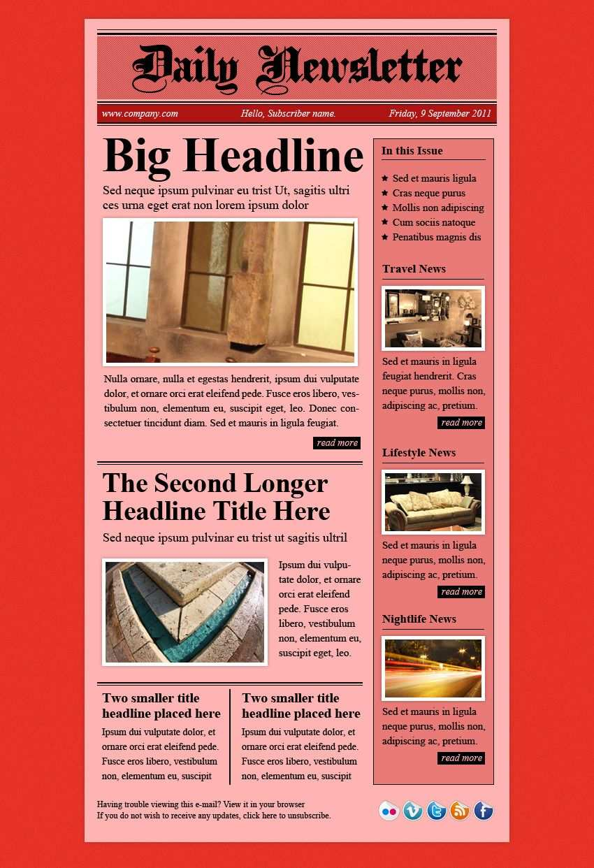 Daily Newsletter Html Email Template Email Templates Html Email Html Email Templates