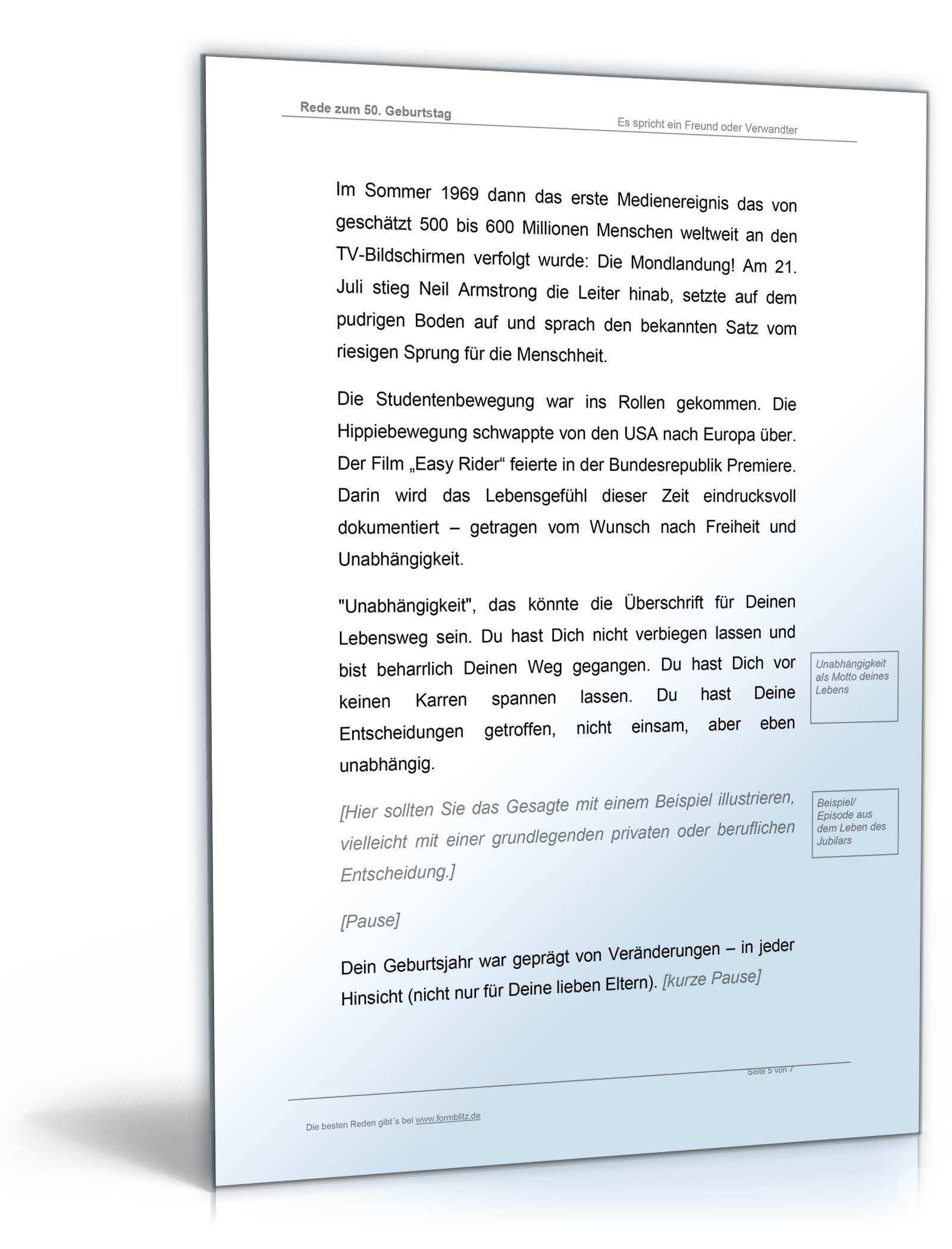 Musterrede 50 Geburtstag 2019 Vorlage Zum Download