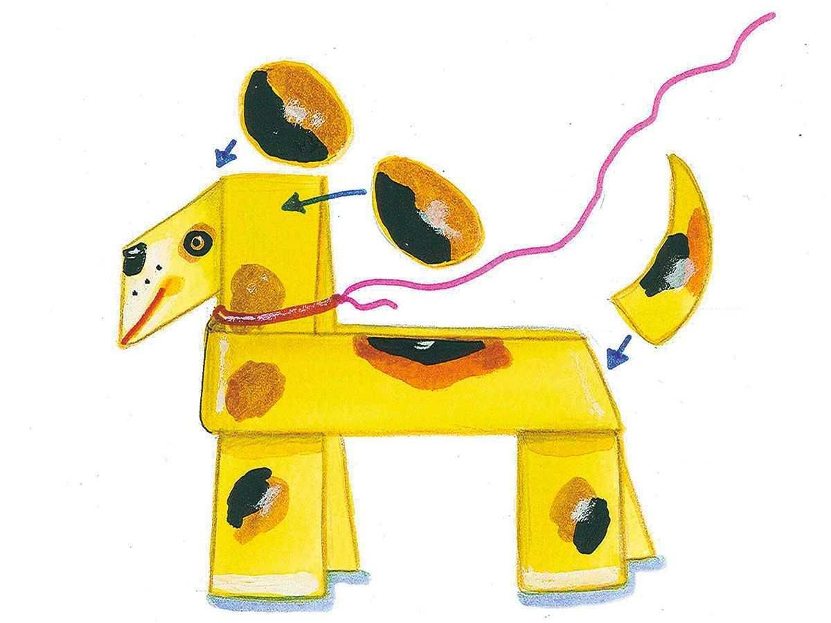 Bastelvorlage Tiere Hund Aus Papier Zum Basteln Hund Basteln Basteln Mit Kindern Basteln