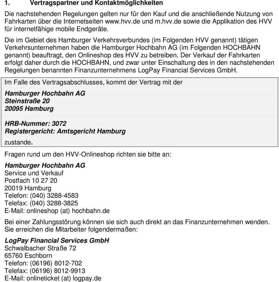 Allgemeine Geschaftsbedingungen Agb Fur Den Hvv Onlineshop Pdf Free Download