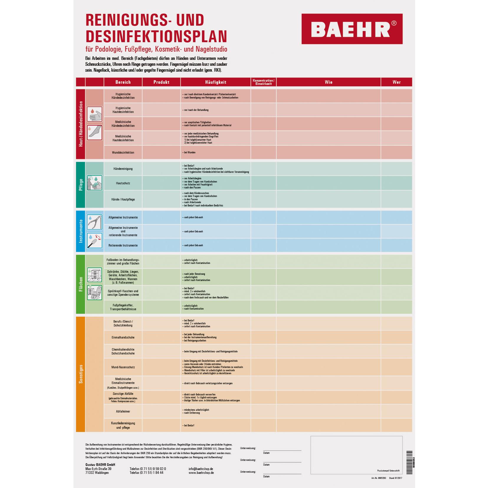 Baehr Desinfektionsplan Fusspflege Baehrshop