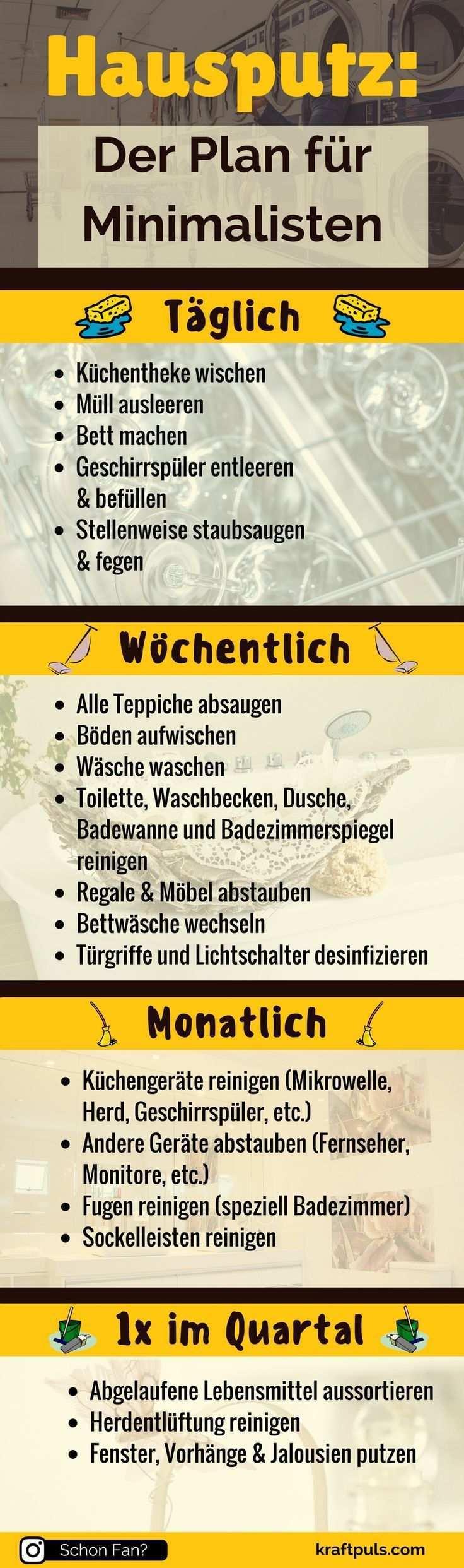Hausputz Der Putzplan Fur Minimalisten Infografik Hausputz Hausreinigung Putzplan