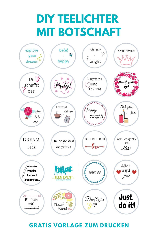 Diy Teelichter Mit Botschaft Gratis Vorlage Zum Drucken Kleine Geschenke Diy Teelichter Geschenkideen Selbstgemacht