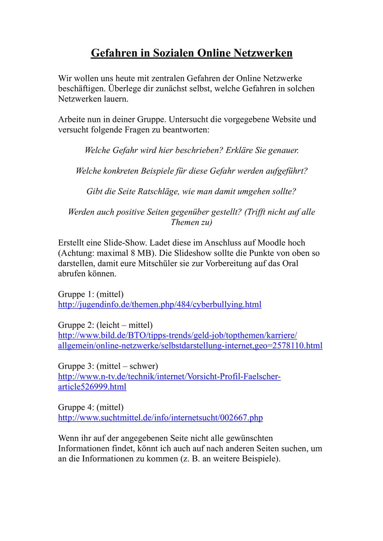 Arbeitsblatt Gefahren In Sozialen Netzwerken Soziale Netzwerke Sozial Netzwerk