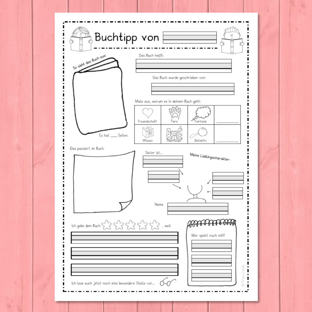 Buchtipp Vorlage Buch Tipps Buchvorstellung Grundschule Buchvorstellung