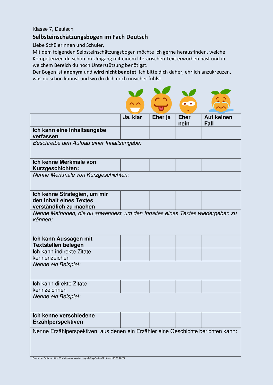 Selbsteinschatzungsbogen Deutsch Klasse 7 Unterrichtsmaterial Im Fach Fachubergreifendes Neues Schuljahr Erste Klasse Realschule