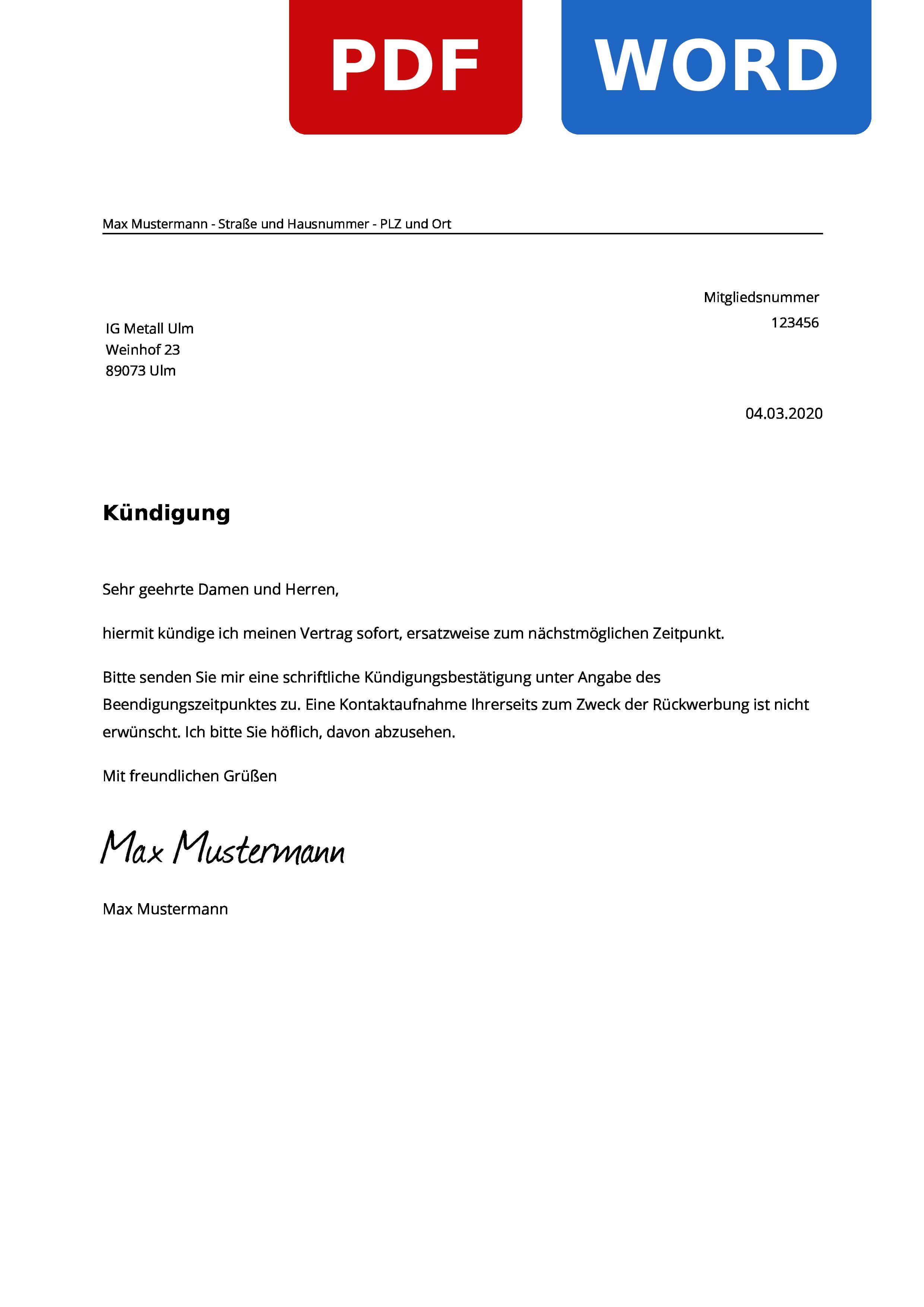 Ig Metall Ulm Kundigen Muster Vorlage Zur Kundigung