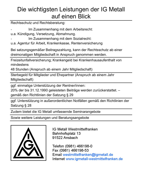 Ig Metall Westmittelfranken Beitrage Und Leistungen