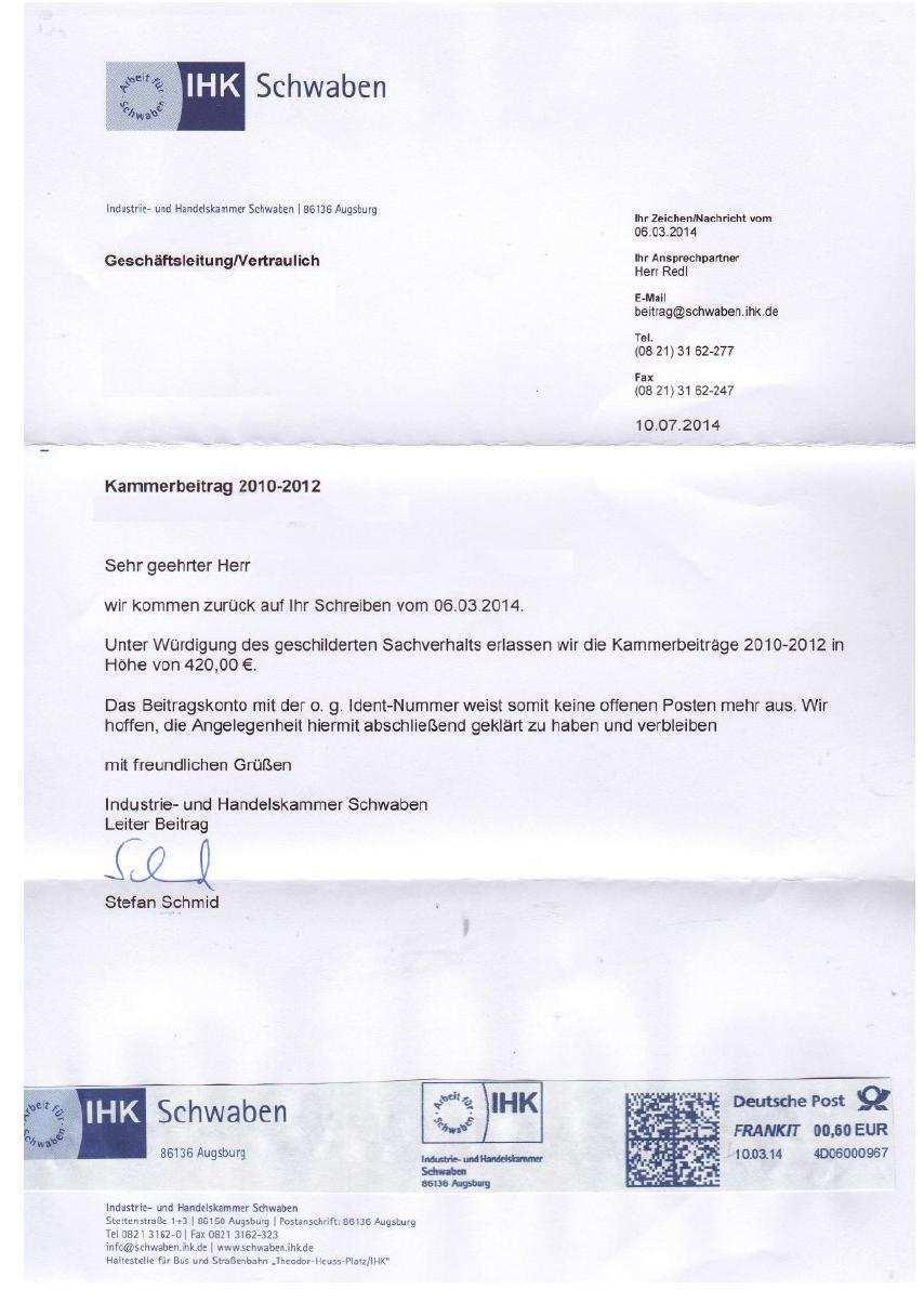 Dubioser Beitragserlass In Der Ihk Schwaben Bundesverband Fur Freie Kammern E V
