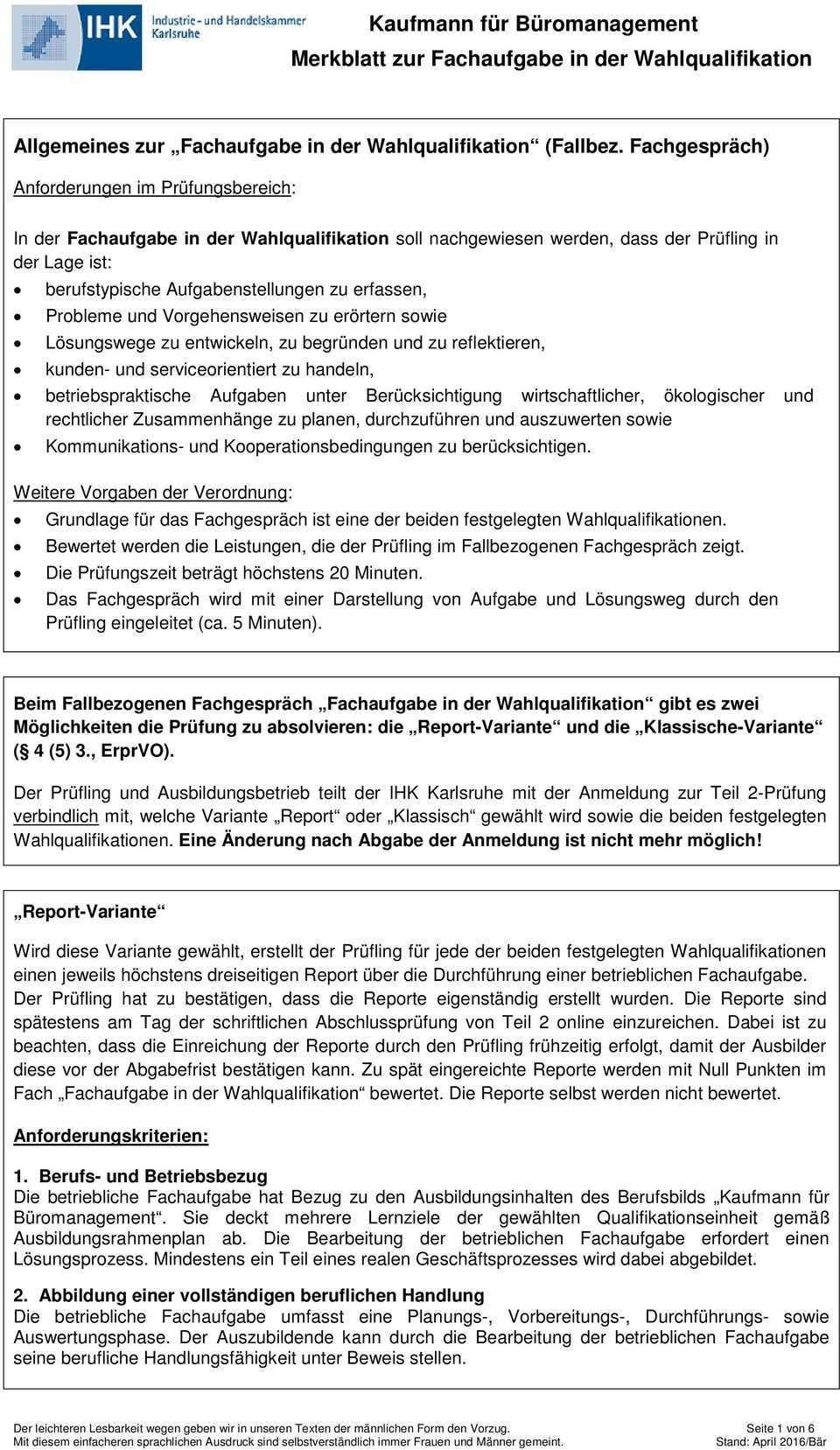 Kaufmann Fur Buromanagement Merkblatt Zur Fachaufgabe In Der Wahlqualifikation Pdf Free Download