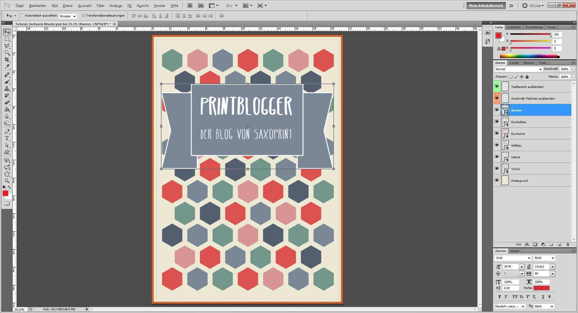 Tutorial Cover Mit Sechseck Muster Gestalten Saxoprint Blog